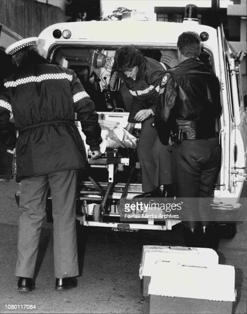 An ambulance under police escort arrives at the Prince of Wales Hospital today after a desperate mercy dash through strikebound traffic from...