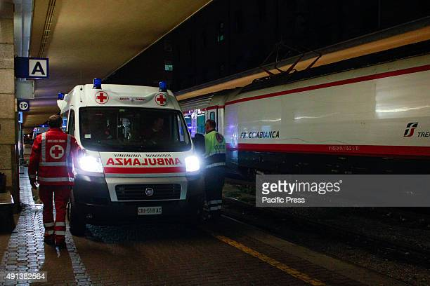 An ambulance waiting to accommodate the sick from the stranded trains Two trains diverted from Lourdes arrived after midnight at Porta Nuova train...