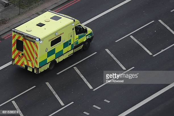 An ambulances leaves Lewisham Hospital on January 12 2017 in London England According to documents leaked to the BBC record numbers of patients are...