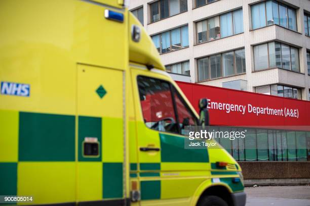 An ambulances sits outside the Accident and Emergency department of Guy's and St Thomas' Hospital on January 3 2018 in London England Hospitals in...