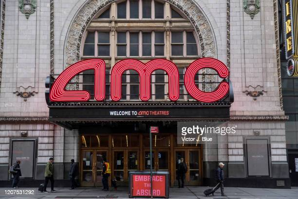 An AMC theater remains closed on March 17 2020 in New York City Schools businesses and most places where people congregate across the country have...