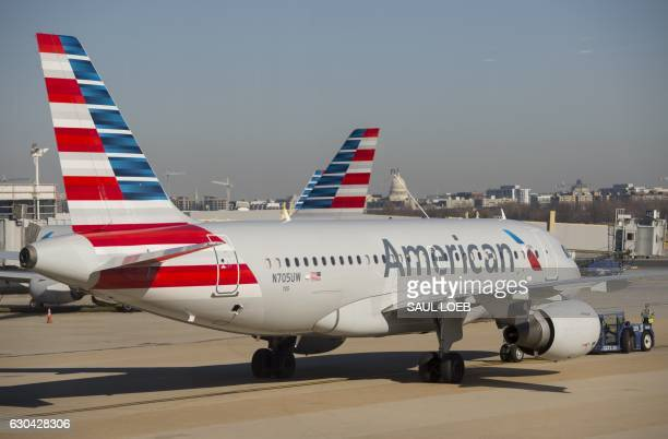 An American Airlines Airbus A319 airplane prepares to depart from Ronald Reagan Washington National Airport in Arlington Virginia December 22 ahead...