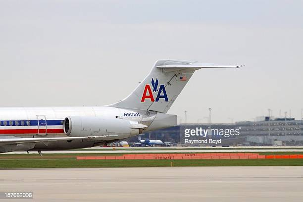 An American Airlines airplane taxis up the runway upon landing at O'Hare International Airport in Chicago Illinois on OCTOBER 25 2012