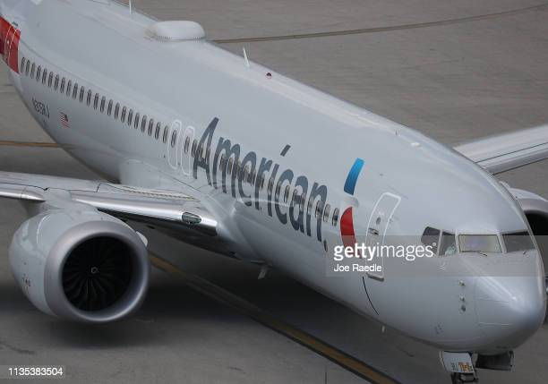An American Airlines Boeing 737 Max 8 arriving from Washington Ronald Reagan National Airport is seen taxiing to its gate at the Miami International...