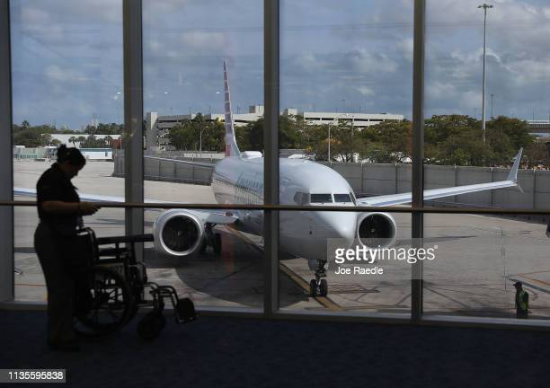 An American Airlines Boeing 737 Max 8 is seen as it pulls into its gate after arriving at the Miami International Airport from San Jose Costa Rica on...