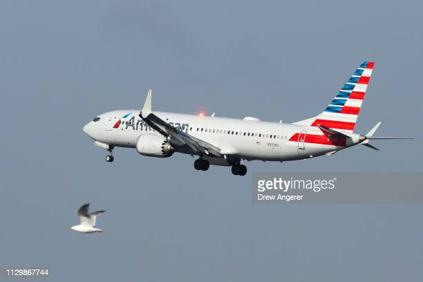 An American Airlines Boeing 737 Max 8 on a flight from Miami to New York City prepares to land at LaGuardia Airport on Monday morning March 11 2019...
