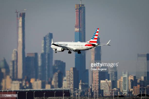 An American Airlines Boeing 737 Max 8 on a flight from Miami to New York City comes in for landing at LaGuardia Airport on Monday morning March 11...