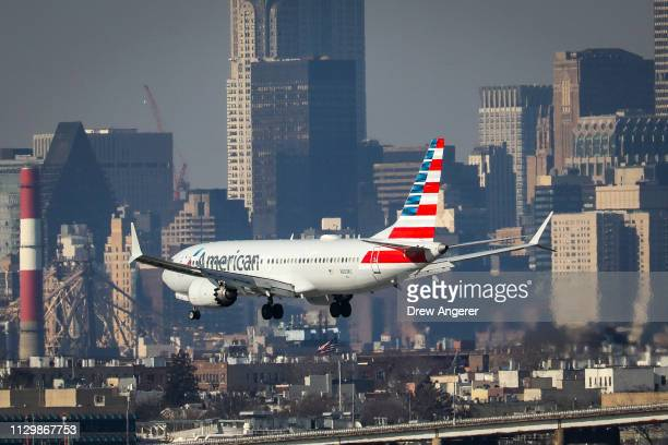 An American Airlines Boeing 737 Max 8 on a flight from Miami to New York City lands at LaGuardia Airport on Monday morning March 11 2019 in the...
