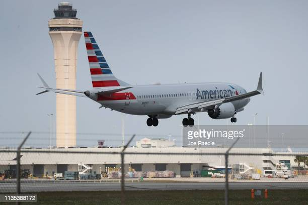 An American Airlines Boeing 737 Max 8 prepares to land at the Miami International Airport on March 12 2019 in Miami Florida The European Union along...