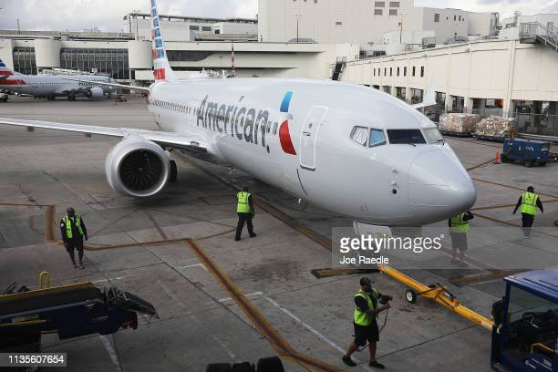 An American Airlines Boeing 737 Max 8 pulls into its gate after arriving at the Miami International Airport from Saint Thomas on March 13 2019 in...