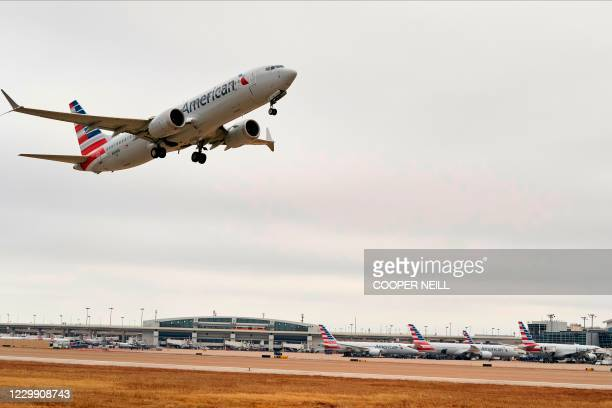 An American Airlines Boeing 737 MAX airplane takes off on a test flight from Dallas-Fort Worth International Airport in Dallas, Texas, on December 2,...