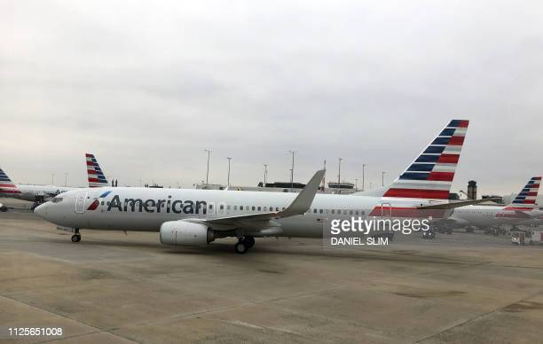 An American Airlines plane is seen on February 17 2019 at Charlotte International Airport in Charlotte North Carolina