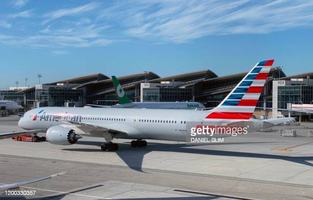 An American Airlines plane is viewed at Los Angeles International Airport on February 12, 2020 in Los Angeles, California.