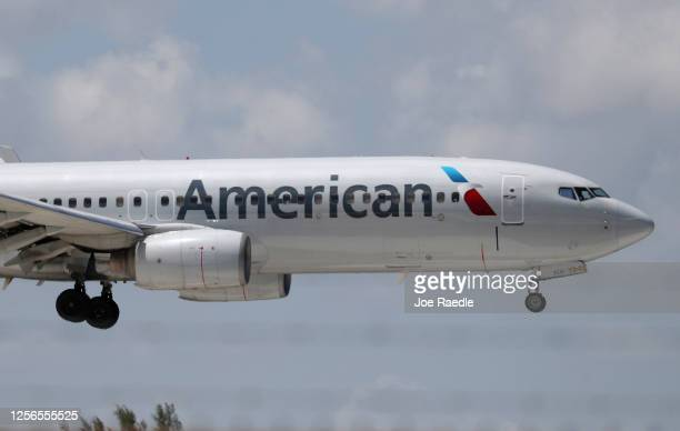 An American Airlines plane prepares to land at the Fort Lauderdale-Hollywood International Airport on July 16, 2020 in Fort Lauderdale, Florida....