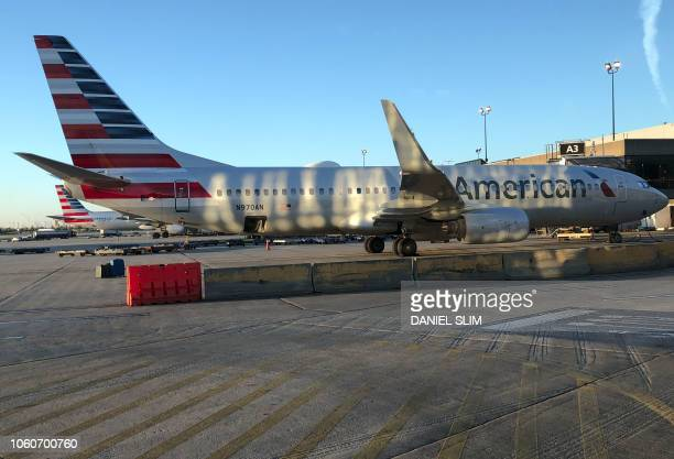 An American Airlines plane sits on the tarmac at Philadelphia International Airport in philadelphiaPennsylvania on November 4 2018