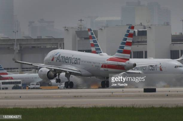 An American Airlines plane takes off at the Miami International Airport on June 16, 2021 in Miami, Florida. Miami International Airport, founded in...