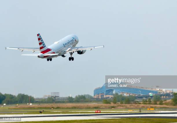 An American Airlines plane takes off from from Philadelphia International Airport on May 3, 2019.