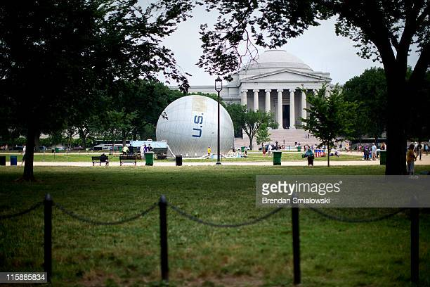 An American Civil Warera observation balloon is seen in front of the National Gallery of Art during a demonstration on the National Mall June 11 2011...