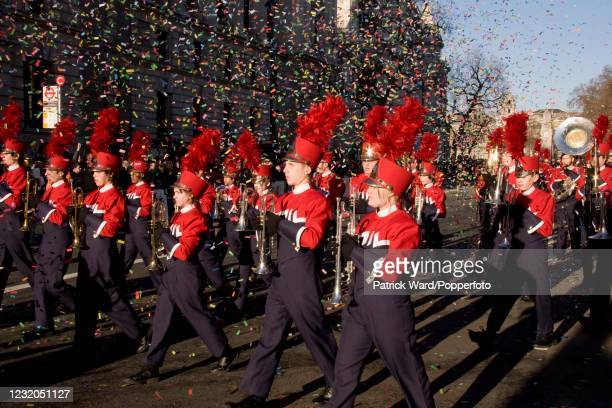An American college marching band along Whitehall during the New Year's Day Parade in London, England, on 1st January 2010.