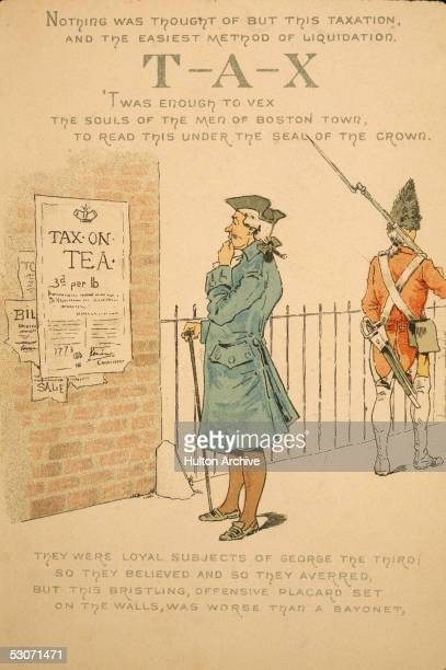 An American colonist reads with concern the royal proclamation of a tax on tea in the colonies as a British soldier stands nearby with rifle and...