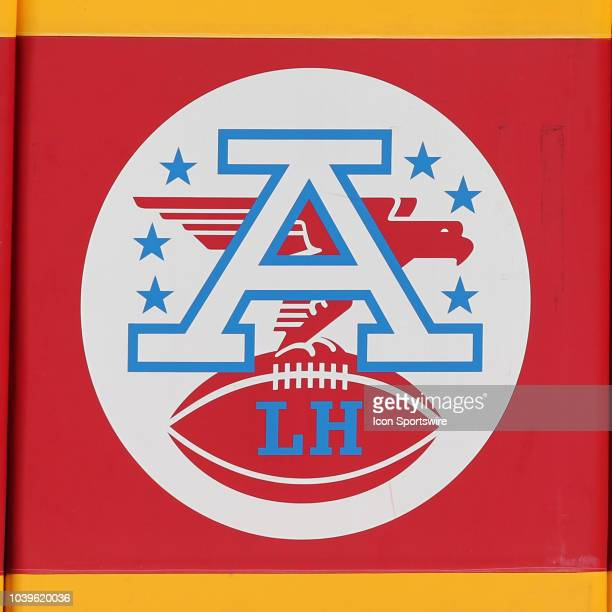 An American Conference logo with the initials LH for Lamar Hunt before a week 3 NFL game between the San Francisco 49ers and Kansas City Chiefs on...