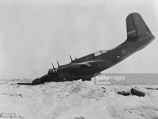An American Douglas A20G1DO Havoc light bomber after it crashed near the Air Transport Command base at Nome Airport Alaska circa 1944 The aircraft...
