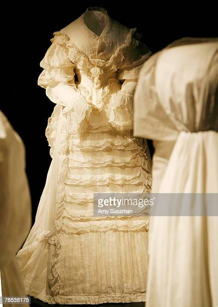 An American dress 183035 is displayed at the Blogmode addressing fashion exhibit at the Metropolitan Museum of Art's Costume Institute on December 17...