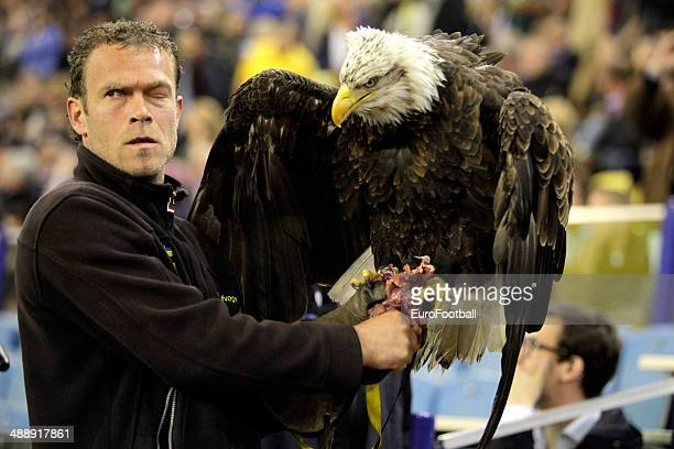 An American Eagle is shown during the opening ceremony before the Dutch Eredivisie match between Vitesse Arnhem and Go Ahead Eagles at GelreDome on...