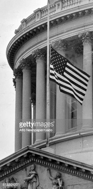An American flag at the United States Capitol Washington DC 1959