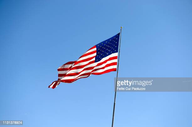 an american flag at wells, nevada, usa - stars and stripes stock pictures, royalty-free photos & images