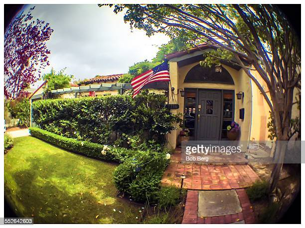 Santa Monica Ca April 25 2015 An American flag flies from the front of a private home in Santa Monica