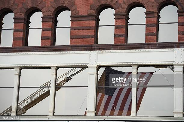 An American Flag flies over Elm Street near the 9/11 Memorial Stair Climb at the Brady Sullivan Building in Manchester NH September 11 2016...