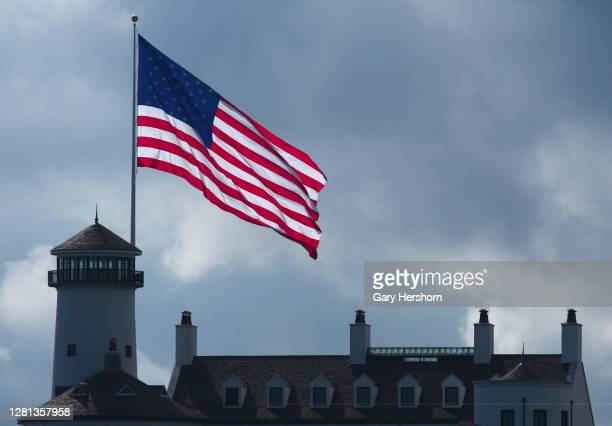 An American flag flies over the clubhouse at the Bayonne Golf Club on October 20, 2020 in Bayonne, New Jersey.