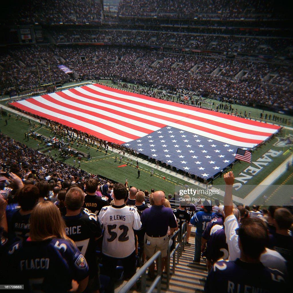 American Flag on NFL Field : News Photo