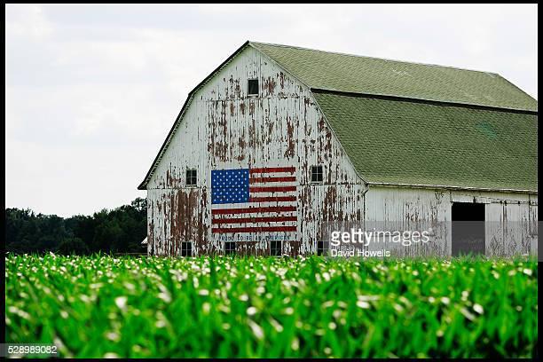 An American flag painted on a barn near Neil Armstrong's home town of Wapakoneta Ohio   Location Wapakoneta Ohio USA