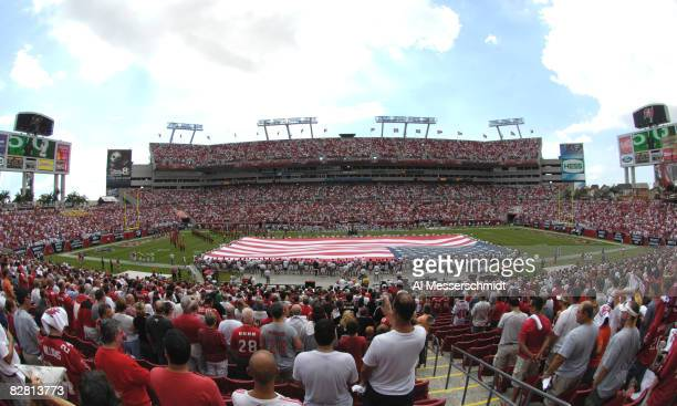 An American Flag span midfield as the Tampa Bay Buccaneers host the Atlanta Falcons at Raymond James Stadium on September 14, 2008 in Tampa, Florida.