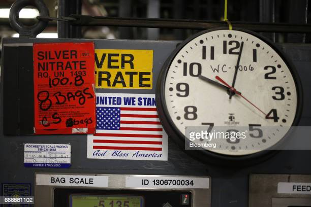 An American flag sticker is displayed on machinery used to manufactured silver nitrate at the Rochester Silver Works LLC facility in Rochester New...