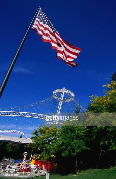 an american flag still flies at the us pavilion in riverfront park, home of the 1974 world's fair. - riverfront park spokane - fotografias e filmes do acervo