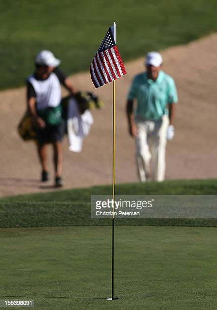 An American Flag was used on the 18th hole pin in honor of Military Appreciation Day during the third round of the Charles Schwab Cup Championship on...