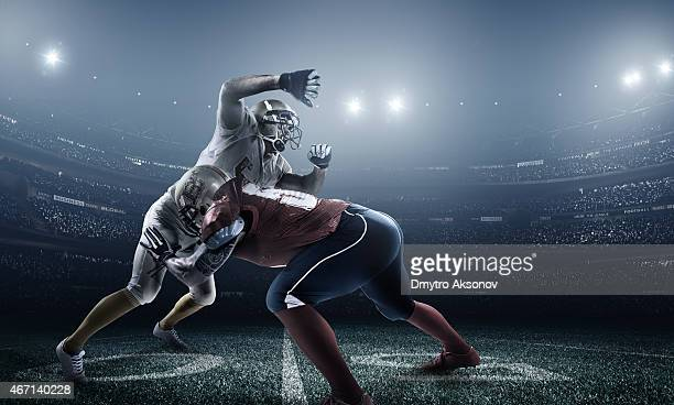 An American football game in action
