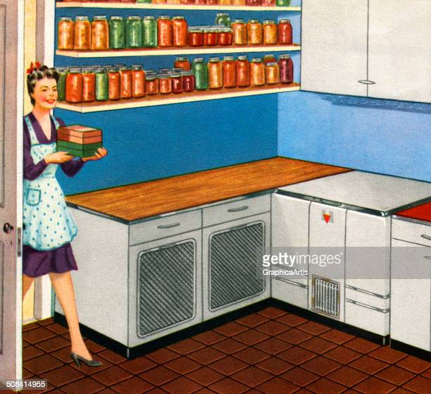 An American housewife walks into her large kitchen walkin pantry already brimming with canned fruits and vegetables 1944 Screen print