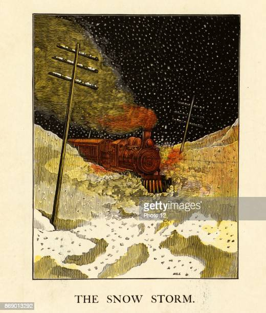 An American illustration of a Steam train at night journeying through a snow storm 1870 Telegraph seen in this illustration poles first became...