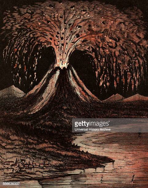 An American illustration of the Volcano which erupted at Vesuvius in 79 AD destroying the Roman town of Pompeii
