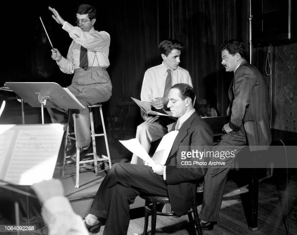 An American in Russia a CBS Radio documentary drama series Pictured from left is Bernard Herrmann Guy della Cioppa Larry LeSueur Norman Corwin...