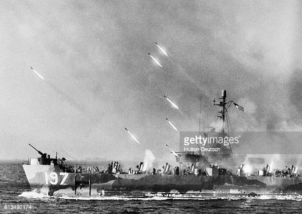 An American LSMR launches rockets at Okinawa before the US 10th Army invaded the stategic island on March 31 1945 US forces on the first day ashore...
