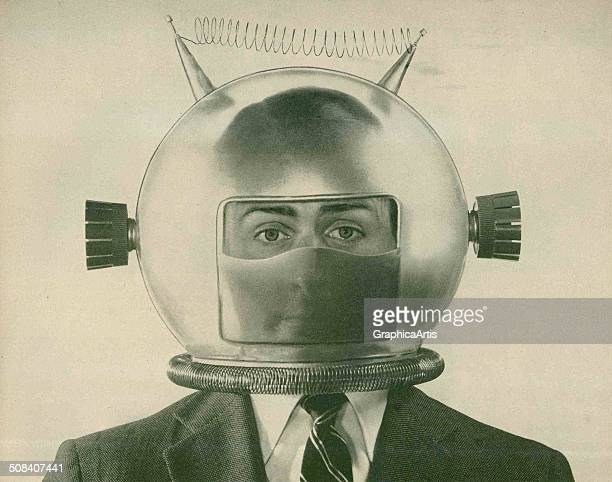 An American man in a suit wearing a strange fake space helmet 1950s Screen print