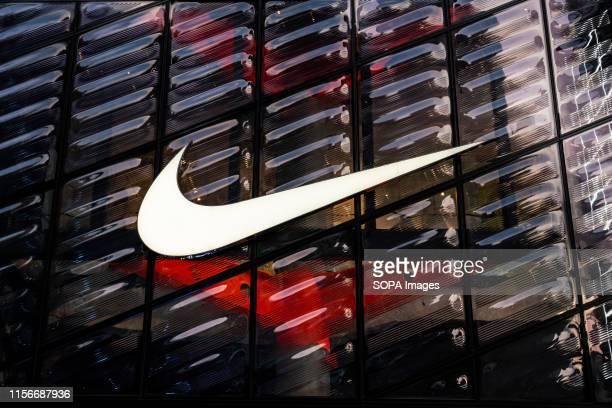 An American multinational sportswear corporation Nike logo seen in Shanghai.