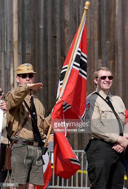 An American Nazi party member salutes during American Nazi Party rally at Valley Forge National Park September 25 2004 in Valley Forge Pennsylvania...