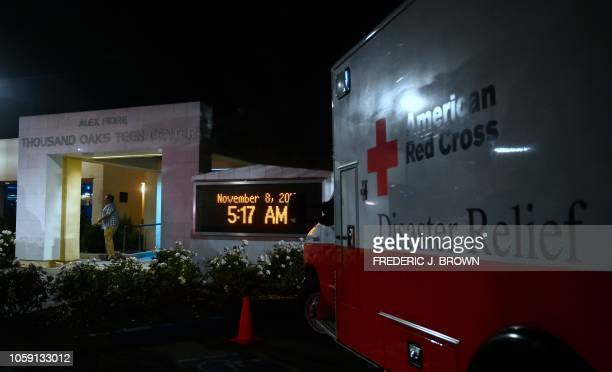 An American Red Cross Disaster Relief vehicle is seen outside the Thousands Oaks Teen Center where people have come for family assistance following...