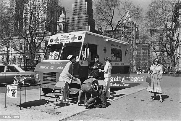 An American Red Cross emergency van at the end of Brooklyn Bridge during the transit strike New York City USA 3rd April 1980
